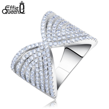 Effie Queen Best Selling Fashion Jewelry Silver Color CZ Bowknot Vintage Ring Women Size 5/6/7/8/9 Ring for Wedding DAR032