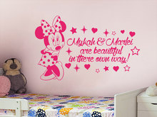 adesive de parede Custom Name Wall Decal Personalized Baby Girls Name Decor Vinyl Decal Stickers Mouse Wall Sticker Decor A540(China)