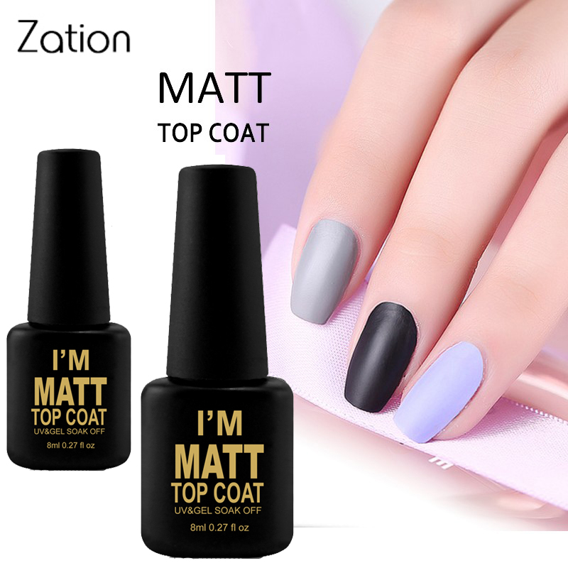 Zation Matte Top Coat UV Gel Nail Polish 8ml Long Lasting Gel Lak Transparent Color Matte Top Semi Permanent Nail Gel Paint