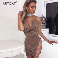 Buy Artiact Shine Diamonds Sexy Women Party Dress Deep V Neck Side Split Bodycon Mini Dress Vestidos Backless Hollow Dress Short for $13.92 in AliExpress store