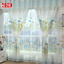 Cotton Fish Curtains For Kids Room Bedroom Cartoon Blinds Green Korean Animal Tulle Window Panels Voile Lining Curtain Fabric(China)