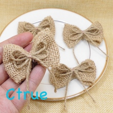 48PCS Natural Jute Burlap Hessian Bowknot Bows Hat Accessories Craft Rustic Vintage Wedding Party Craft Wedding Centerpieces