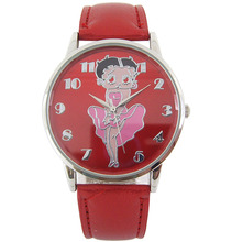 Betty Boop Leather Cute Lovely Girl Ladies Women's Watch Children's Gift Quartz Student Kids Wristwatch Sexy Women Watches(China)