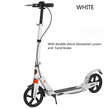 Buy Adult Foldable Kick Scooter Double Shock Absorption Height Adjustable Foot Hand Brake District Scooter Patinete Adulto for $129.91 in AliExpress store