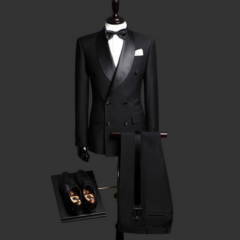 Black Double Breasted Slim Fit Men Suits Shawl Lapel Formal Wedding Groom Tuxedos for Prom Evening 2 Piece Suit Set Jacket Pants