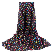 2017 New Design Women Auturm Winter Colorful Dots Print Soft Wrap Shawl Chiffon Scarves Bufandas Mujer Black Lady Scarf 160x50cm(China)