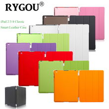 RYGOU Slim Magnetic Leather Smart Cover Case For Apple iPad 2 3 4 PU Leather Front Cover + PC Back Case for iPad2 iPad3 iPad4