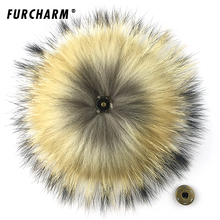 15cm 100% Real Raccoon Fur Pom Pom Keychain Fluffy Fur Balls Genuine Fur Pompons for Bag Hats Cap Scarf Gloves with Buttons(China)