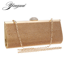 YINGMI  diamond full crystal rhinestone women clutch metal bag bridal dress party handbag evening bag small day clutch purse bag