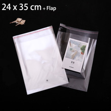 "250 Pcs 24 x 35 cm Crystal Clear Resealable Cellophane Cello Bags 9.45"" x 13.78"" Transparent Plastic Packaging Bags"