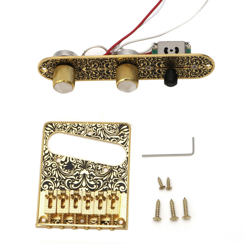 1Set Guitar Bridge &amp; Pickup &amp; 3 Way Switch Control Knob Plate Set Black Golden  <br>