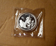 1998 Year Panda Silver Plated Coin 1 oz 10 Yuan Silver Plated Coin  with Original box and certificate gift present