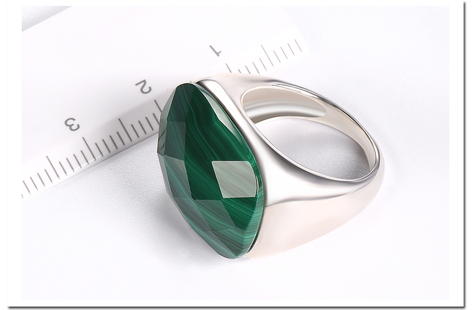 Hutang Malachite Engagement Rings Checkerboard Cut Natural Gemstone Solid 925 Sterling Silver Ring Men Women Fine Stone Jewelry