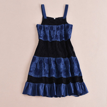 Retro Dress 2016 Summer Mini Slash Spaghetti Strap Lace & Denim Patchwork Topshop Classic Embroidery New Style Zipper Dress