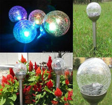 Stainless Steel Solar Lawn Lights Multicilor, Yellow, Blue Led Solar Lantern Recharged by solar panels Crack ball Garden Light