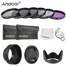 Andoer 49mm Lens Filter Kit UV+CPL+FLD+ND with Carry Pouch / Lens Cap / Lens Holder / Tulip & Rubber Lens Hoods / Cleaning Cloth(China)