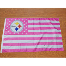 3ft x 5ft 100D Digital Printing pink usa stripe Pittsburgh Steelers flag 150x90cm(China)