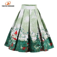 Vintage Retro Floral Print Skirts Womens High Waist Rockabilly Pleated Audrey Hepburn Style Saias Midi Swing Ball Gown Skirt