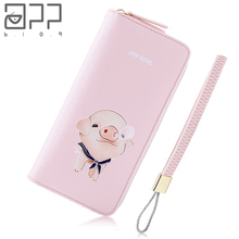 APP BLOG Brand Original Cute Pig Women's Wallet Custom Made Wallets Clutch Phone Bag Carteira Feminina Mujer Girl Purse Female(China)