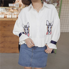 2017 Sweet Style Cartoon Embroidery Printed Pattern Leisure Han Edition Personality Three Quarter Puff Sleeve White Shirts(China)