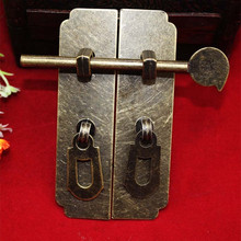 Metal Hardware Set Antique Wooden Box Latch Hasp+Pull Handle+Hinges+Bolts+Old Lock Furniture Accessories,1Set(China)