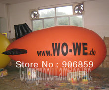 NEW 4 M Long Orange Inflatable Zeppelin with Black Wings/DHL Free Shipping Inflatable Advertising Airship for Events(China)