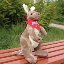 about 30cm red scarf brown kangaroo plush toy doll birthday gift b0465(China)
