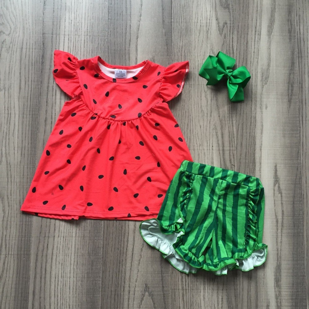 55b3ffd6fcab new arrivals watermelon short set outfit Summer outfit girls boutique  clothing milk silk baby kids wear