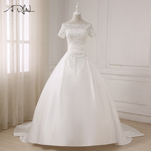 Buy ADLN 2017 Elegant Boat Neck Short Sleeves Wedding Dresses Beaded Lace Applique Ball Gown Wedding Dress Plus Size for $143.30 in AliExpress store