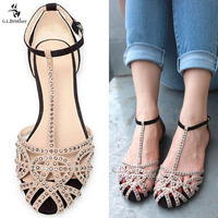 G.L.BROTHER Brand Gladiator Sandals Women Rhinestone Sandals Shoes Woman Sandals Flats Sandalias Mujer Feminina 2017