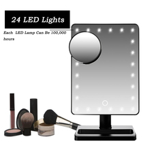 12-Inch 10xMaganification Dimmable Illuminated Comestic Vanity Mirror Large Screen Makeup Mirror with 24 Bright LEDs Lights(China)