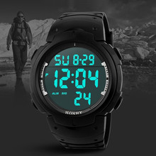 New HONHX Fashion Watches Waterproof Men's Boy LCD Digital Stopwatch Date Rubber Sport Wrist Watch Freeshipping