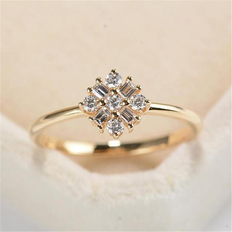 Gold Color Copper Zircon Rings for Women Wedding Engagement Crystal Flower Ring bague femme C25