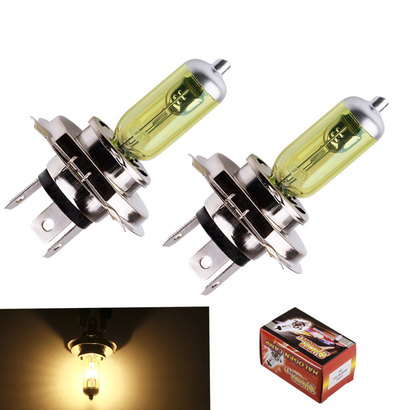 2pcs 12V H4 55W Yellow Fog Lights Halogen Bulb High Power Headlight Lamp Car Light Source parking Head auto 60/55W 3000K