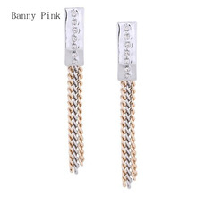 Shiny Geo Alloy Pendant Studs Earrings For Women Gold Silver Mix Color Tassel Chains Post Earrings Fashion Jewelry Pendietes
