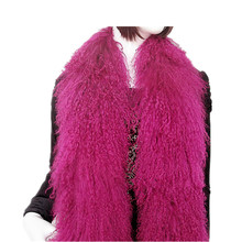 F733-natural monoglian fur wraps,170 *14cm black ,yellow, red,white,blue, fashion women warm winter scarf LENCOS