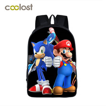 Anime Character Mario Sonic Printing Backpacks for Teenager Girls Boys School Bags Super Funny Toddlers School Backpack Kids Bag(China)