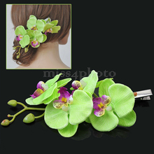 New Lady Beach Party Prom Flower Hair Clip Barrette Light Green Hair Accessories