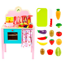 Baby toys kid cooking set wooden kitchen toy for children wooden food play kitchen set