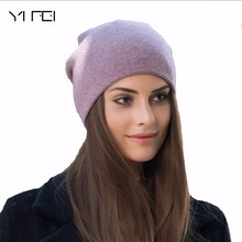 YIFEI 2017 Women's Winter Hat Knitted 100%Wool Beanie Female Fashion Skullies Casual Outdoor Mask Ski Caps Warm Hats For Girls(China)