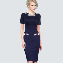 Buy Womens Summer Style Patchwork Striped Elegant Vintage Colorblock Contrast Work Office Bodycon Fitted Sheath Pencil Dress B214 for $14.24 in AliExpress store