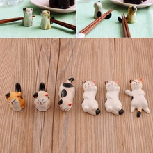 1 Set 6 Pieces Japanese Ceramic Cat Shape Ceramic Fork Stand Tableware Holders Dinner Service Holder