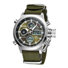Canvas Military Watch Men Digital Stopwatch Alarm Wristwatch Army Watch Compass montre etanche 50m relogio(China)