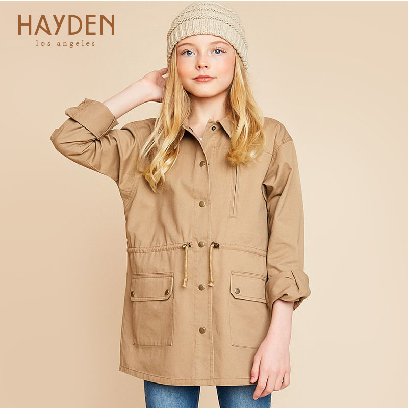 HAYDEN Girls jackets and coats for teenage girls winter clothing kids embroidery clothes 10Y children autumn outerwear costumes<br>