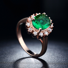 Vintage Rose Gold Plated Green Round CZ Diamond Emerald Rings For Women Elegant wedding Engagement Ring Crystal  Valentine SH013