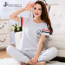 JRMISSLI 2017 New Big Size Pajamas Women 100% Cotton Sleepwear Short Sleeve Lounge Wear O-neck Women Pajama Set 3XL