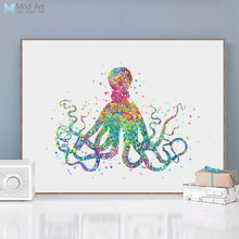 Modern Watercolor Marine Animal A4 Art Print Poster Abstract Octopus Wall Canvas Pictures Bedroom Home Decor Painting No Frame