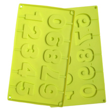 1pc Kitchen DIY Silicone Numbers Lollipop Mold Green Chocolate Cake Sugar Silicone Fondant Mould Baking Tools 10   Holes