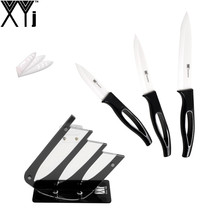 "Chinese Best Kitchen Knife Set XYJ Brand New 3""4""5"" Zirconium Oxide Ceramic Knife Set Handmade Cooking Knife+One Knife Holder(China)"