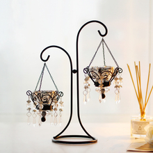 Candlelight Dinner Iron Ornaments Crystal Pendant Candle Ornaments Candlestick Candelabra Centerpieces Wedding(China)